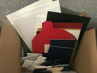BOX OF 90 MOUNTBOARD MOUNT BOARD THICK CARD OFF CUTS ASSORTED SIZES AND COLOURS