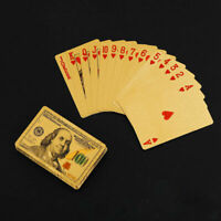 24K Gold Playing Cards Waterproof PVC Poker Party Deck Game Magic Props New