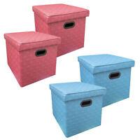 2x Sitzhocker Faltbar Pink oder Hellblau Kunstleder Sitzwürfel Stauraum Hocker