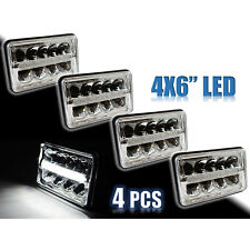 "4X6"" Chrome LED DRL  Octane Light Clear Sealed Beam Headlamp Headlight Set"