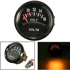 52mm Car Auto Mechanical Volt Voltmeter Voltage Meter Gauge 8~16V Black Face 12V