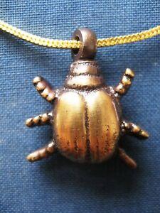 Handmade Beetle Antique Brass Cremation Keepsake Pendant Jewellery Necklace Urn