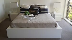 """Brand New Local Manufactural """"W088"""" White Color Queen Size Bed"""