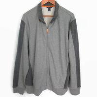 Lands End Men's XL Jacket gray Two Tone Full Zip Cotton size XL
