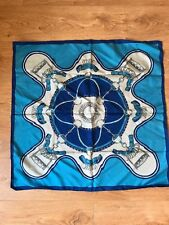 VINTAGE WOMENS SQUARE SCARF BLUE PALE GREY CHAIN BUCKLE PRINT 80s (sc54)