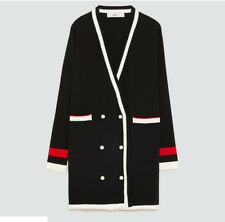 ZARA DOUBLE BREASTED CARDIGAN JACKET COAT PEARL BUTTONS BLACK Small NWT