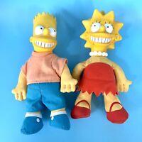 Lot of Vintage 1990 Burger King Bart & Lisa Simpson Plush Plastic Head Dolls