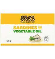 Black & Gold Sardines In Vegetable Oil 125gm
