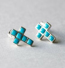 Holy Cross Stud Earrings with Natural Turquoise Stones, 925 Sterling Silver