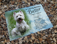 Personalised ceramic tile, headstone grave memorial plaque, Westhighland Terrier
