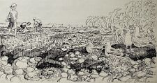 Karl Adser 1912-1995 Zeichnung Kinder am Strand mit Seevögeln Möwen Ostsee Meer