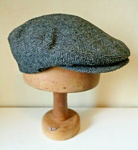 Men's Dark Grey Herringbone/Tweed Flat Cap. Lined 58 cm/Large.