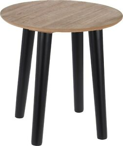 30cm Round Classic Wood Coffee Table Side Table 30cm Height Black Legs