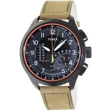 Timex Men's Iq T2P276 Black Leather Analog Quartz Fashion Watch