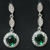 1 Ct Round Green Emerald Halo Stud Earrings 14K White Gold Plate Solid Silver