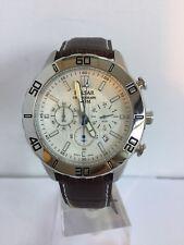 Reloj deportivo pulsar para hombre Cronógrafo Fecha correa marrón de cuero PT3433X1