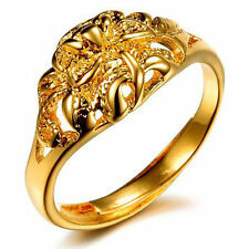 Ring Vintage Flower Carved Women 24k Real Yellow Gold Filled Rings Free Shipping