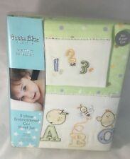 Brand New Bubba Blue Cot Sheet Set Baby Boy Girl ABC 123 Design Boori