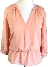 BarIII NWT Med V-Neck Button Cuff 3/4 Sleeves Elastic Waist Ruffled Hem Top Pink