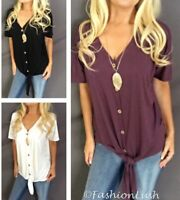 Button Down V-Neck Tie Knot Front Solid Relaxed Fit Short Sleeve Shirt Tee Top