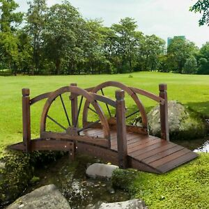 Outsunny Wooden Garden Bridge Arc Footbridge with Safety Guardrail Stained Wood