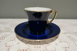 Crown Devon Fieldings England Art Deco Demitasse Duo- Cobalt Blue Gilt Trim  VGC