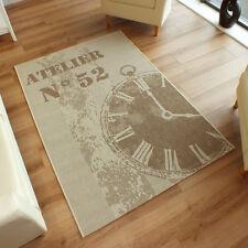 Large Flatweave Clock Beige Cream Rug 1.6m x 2.3m 5'3 x 7'6