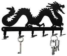 Schlüsselbrett Glücksdrache - Drache Schlüsselboard, Hakenleiste Metall schwarz