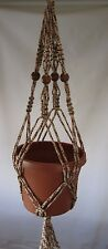 MACRAME PLANT HANGER 24in Vintage BEADS**CHOOSE COLOR**