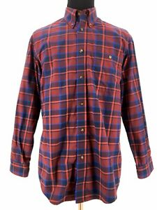 Orvis Mens Button Down Long Sleeve Plaid Check Red Casual Shirt Size Large