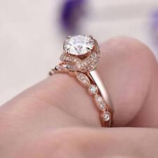 Band Set 14k Rose Gold Fn Silver 1.5ct Cubic Zirconia Dia Womens Bridal Ring