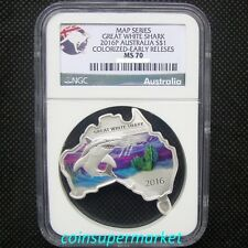 2016 Australia Map Shaped Series Great White Shark 1oz Silver Coin NGC MS70 OGP!