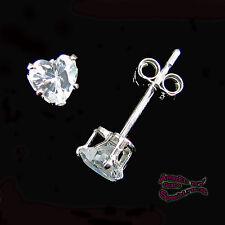 4mm 'Diamond-Like' Clear HEART POST EARRINGS in SOLID 925 Sterling Silver !