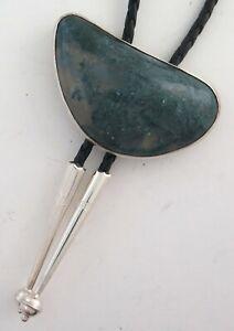 Interesting Free Form Sterling Silver Handmade Ferris Blue-Green Bolo Tie