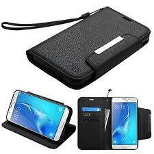 FOR SAMSUNG Galaxy J7 Sky Pro PHONE BLACK WALLET STRAP COVER CASE + SCREEN FILM