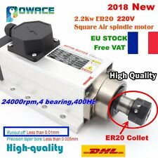 【FR】Square 2.2KW 220V Air Cooled Spindle Motor ER20 6A 24000rpm for CNC Router