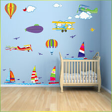 Balloon Sail Boat Wall Stickers Airplane Nursery Baby Kids Bedroom Decal Art