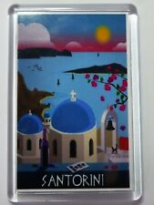 Santorini Vintage Travel Poster Fridge Magnet _- Greece