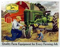John Deere Poster Father Son Tractor Farming  1950 Art Print Ad Dealer  photo