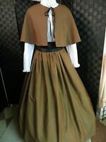 Civil War Victorian Pioneer Prairie Skirt Cape Dickens Handmade One Size