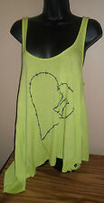 Women's Green/yellow Long Top Tunic Tank Stretchy Funky Heart Design Large