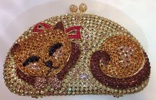 NIB Crystal Evening Bag Clutch Hand Bag made with swarovski elements Cat