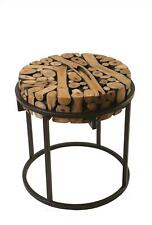 PADMAS PLANTATION SAFARI SIDE TABLE RUSTIC ROUND POWDER-COATED BLACK IRON T