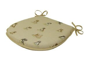 Shabby Dogs D-Shaped Garden/Patio/Kitchen/Dining Tie-On seat pads *3 Sizes*