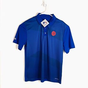 Chicago Cubs Cool Base Polo Shirt XL Blue Heather Majestic MLB