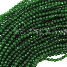 """Natural 4mm faceted emerald green jade round Loose beads 15"""" strand"""