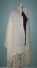 Lovely Vtg Lightweight Vanilla Wool Shawl Wrap Scarf Hand Knotted Fringe 94X27