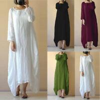 Plus Size Women Ladies Crew Neck Loose Casual Solid Cotton Baggy Boho Long Dress