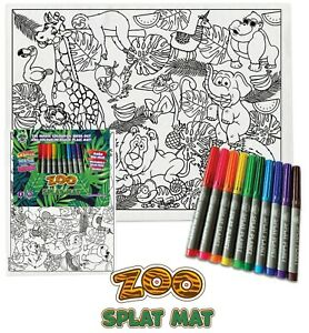 Splat Planet Colour-In Zoo Placemat with 10 Non-Toxic Washable Magic Pens