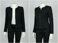 Womens Hugo Boss Blazer Jacket Business White Line Full Zip Knit Black